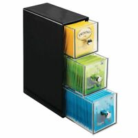 mDesign Plastic Kitchen Storage Tea Organizer, Flips, 3 Drawers - Black/Clear