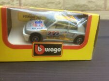 PEUGEOT 205 TURBO 16 RACE CAR SILVER 1:43 BURAGO MODEL * BOXED *