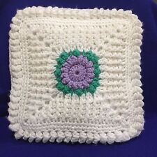 "Vintage Hand Crochet Throw Pillow Cream Lavender Green 15"" Square Free Shipping"