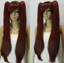 New black and red wavy hair wig ponytail women COSPLAY wigs 2 ponytail