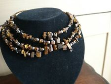 Tigers Eye Spider Choker Necklace - free size (3 rows)
