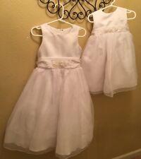 Matching DAVID'S BRIDAL WHITE BEADED FORMAL DRESSES sz Girls 4 & 24 mo.  EUC