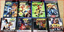 PSX/2/3 JUMP & RUN Auswahl: CRASH Bandicoot, Rayman, GEX, Croc ,CTR, Mutanten