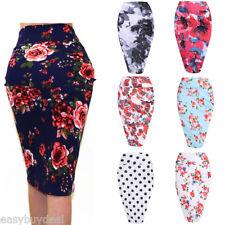 Womens Ladies Midi Pencil Skirt Floral Printed Bodycon Chiffon Tube Plus Sizes