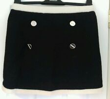 Ladies Knitted Mini Skirt with Button & Bow Detail, Fully Lined. Small