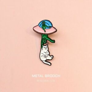 1pc Crazy Alien Enamel Pins Cosmic Airship Lapel Pin Backpack Brooches Badges Je