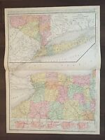 """Large 21"""" X 28"""" COLOR Rand McNally Map of New York State-1905"""