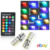 2x T10 6SMD 5050 RGB LED Car Wedge Side Light Reading Lamp Bulb+Remote Control E