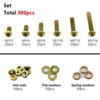 300pcs M3 Brass Phillips Pan Head Screws Bolt & Brass Hex Nut Washers Assortment