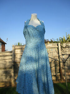 Vivien of Holloway Halterneck Circle Dress with boned bodice and full skirt 18