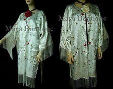 White Silk Kimono Duster Coat Kimono All Embroidered & Lined Maya Matazaro
