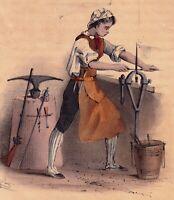 Gravure XIXe Apprenti Armurier Armurerie Lithographie Apprentissage Gunsmith