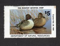 Scott IA17 1988 $5 IOWA DUCK HUNTING STAMP, MNH