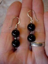black obsidian earrings 10 mm beads cse245