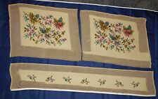 "Vintage Unfinished Needlepoint Projects Purse Kit Pillow Cover 31"" Runner Chairs"