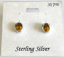 faceted Oval Earrings Pierced stud New Fashion Jewelry Sterling Silver Amber