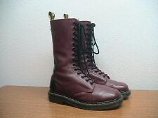 Womens 7 US Dr. Martens Rocker Cherry Red Leather, Black Trim 14 Eye Boots