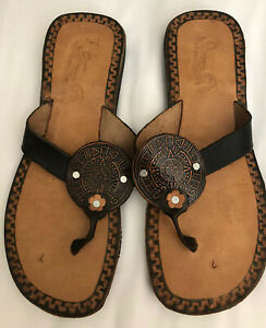 Mexican Leather Brown Huarache Thong Sandals Mayan Flower Size 9