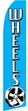 Wheels Blue Tire Dealer Swooper Banner Feather Flutter Tall Curved Top Flag Sign
