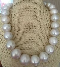 "huge perfect round 16mm south sea white pearl necklace 18""14k"
