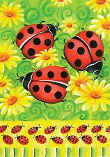 New Toland Garden Flag Ladybug Ladybugs & Daisies On Green 12.5 X 18