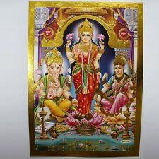 Altarbild Göttin Lakshmi, Prägedruck Indien Hinduismus  Bild Guru Om Puja 13