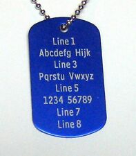 1 PERSONALIZED Dog Tag Necklace Horizontal Word BLUE