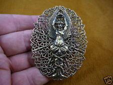 (b-ang-31) Woman angel crown wings filigree BRASS pin pendant I love my angels