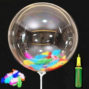 Bobo Balloons with Feathers and Pump, 50 Packs 20 Inch Crystal Clear Bubble