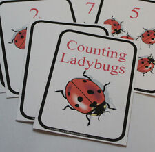 12 cards - Ladybug Counting Cards - Pre school Kindergarten Math