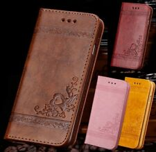 Genuine Leather Magnetic Flip Card Wallet Cover Case For Samsung Galaxy S6 S7 S8