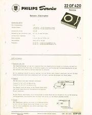 Philips Plattenspieler 22GF420 Schaltplan Manual 1966 Original   GF420 philitina