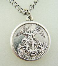 Silver Tone Saint St Michael Protection Charm Pendant Necklace, 7/8 Inch