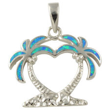 Sterling Silver Blue Created Opal Inlay Palm Tree Pendant .925 Jewelry