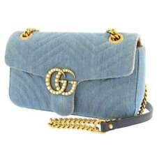 GUCCI GG Marmont Denim Canvas Pearl Blue Heart 443497 Chain Shoulder Bag Italy