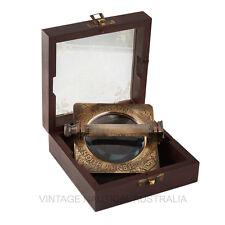 Vintage Nautical Magnifying Glass Sherlock Holmes Folding Handle Brass Engraved