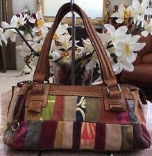 Fossil Key Leather Suede Fabric Multicolor Patchwork Shoulder Slim Handbag EUC