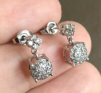 9ct White Gold Diamond Drop Earrings 0.45ct Dangle Cluster Studs Near Half Carat
