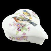 Vintage Limoges France Porcelain Heart Trinket Box w. Birds & Flowers Porcelain