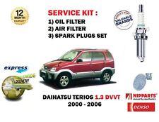 für Daihatsu Terios 1.3 DVVT 2000-2006 Öl Luft Filter + Zündkerzen Wartungssatz