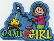 Girl CAMP LIKE A GIRL STICK camping Fun Patches Crests Badges SCOUTS GUIDES New
