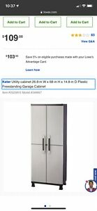 Keter Utility cabinet 26.8-in W x 68-in H x 14.8-in D Plastic Freestanding Garag