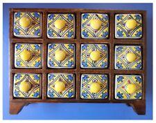 Cassettiera in legno 12 cassetti porcellana ceramica artigianato orientale India