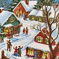 Vintage Mid Century Christmas Greeting Card Snowy Village Scene Lighted Houses