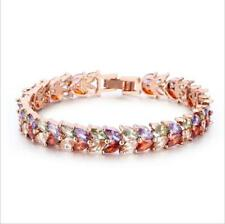 Rainbow Color Natural Rainbow Mystic Fire Topaz Rose Gold Plated Charm Bracelets