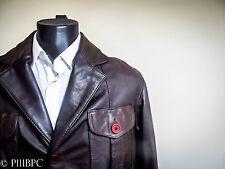 Classic Dark Brown Soft Heavy Real Leather Safari Jacket Rocha John size Large