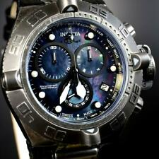 Invicta Subaqua Noma IV Swiss Made Chrono Distressed Black MOP Leather 50mm New