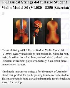 Classical Strings Violin 4/4 Model 80 Free Shipping