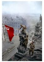 NICE Color WW2 Soviet Russian Propaganda Poster Soldier Soviet Flag On Reichstag