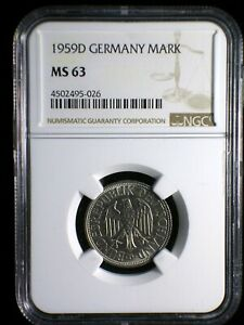 Germany Federal Republic 1959 D Mark *NGC MS-63* Scarce in UNC Only 5 Grded Hier